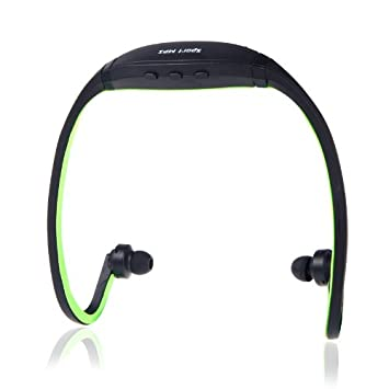 Docooler Deportes MP3 WMA Reproductor de música TF/Micro SD Tarjeta Seguridad Inalámbrico Auriculares Negro + Verde