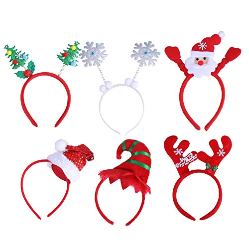 CCINEE 6pcs Cute Headbands Christmas Themed Hair Bands Head Boppers for Women Girls & Kids -