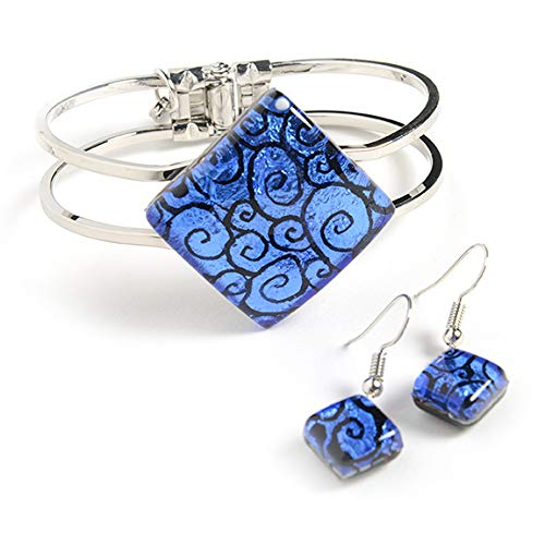 - Murano Glass Jewelry Set: Murano Glass Earrings & Murano Glass Bracelet - Handmade from Italian Artists - Each Murano Glass Square is Unique, Colorful, and Exquisite - Murano Glass Jewelry for Women