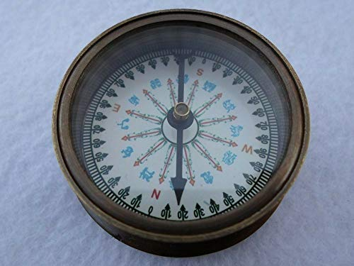 Brass Pocket Compass w/Mechanical Calendar ~ Antique Finish ~ Camping Hiking for Home Decor Collection