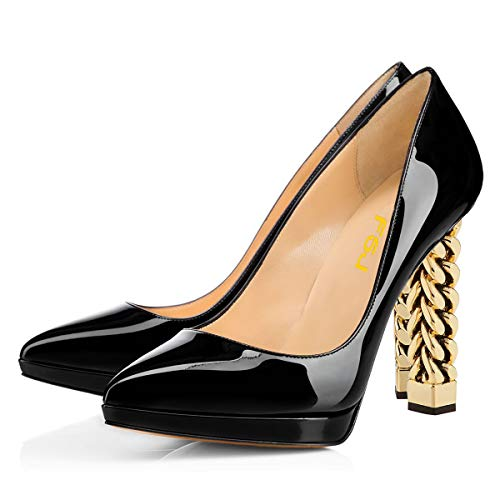 FSJ Women Gold Metal Chain Chunky High Heel Pointed Toe Slip On Fashion Pumps Shoes Size 8 Black-Platform