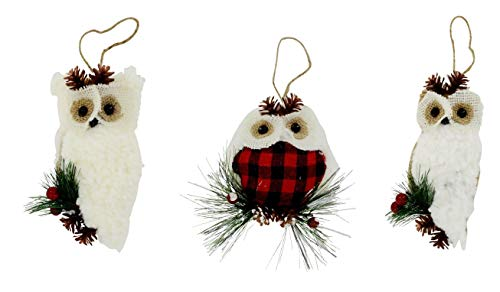 A&T Designs Set of 3 Fluffy Owl Red Buffalo Check Plaid Christmas Ornaments - Holiday, Rustic Farmhouse]()