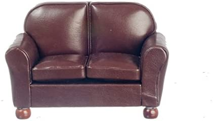 Dollhouse Miniature Living Room Furniture Brown Leather 2 Seater Sofa