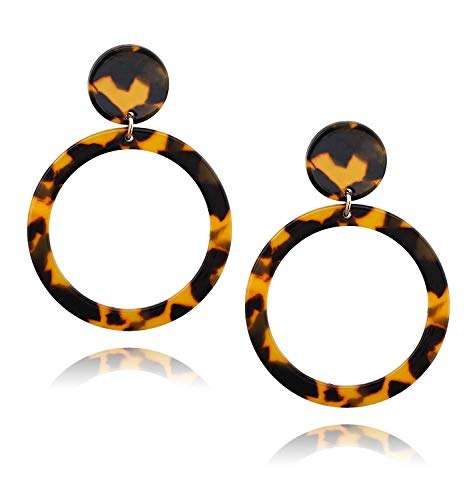 WYAQ Statement Mottled Acrylic Drop Dangle Earring Geometri Resin Hoop Lightweight Stud Boho Tortoise Shell Earrings for Women and Girls ()