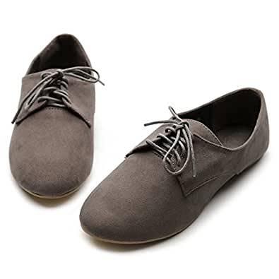 Ollio Womens Faux Suede Lace Ups Ballet Flat Heels Loafers Oxford Grey Shoes