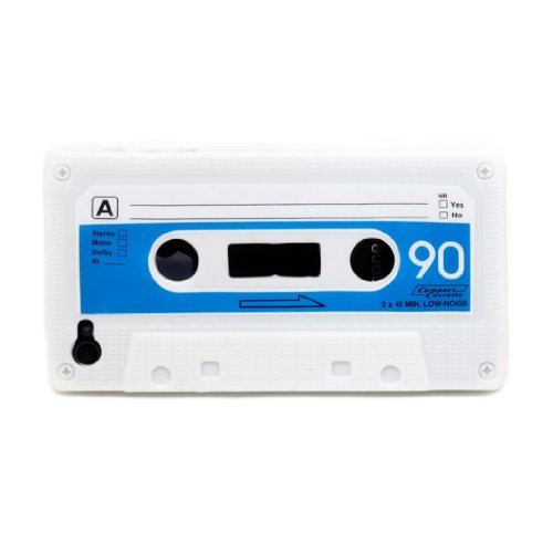 Boho Tronics TM Retro Cassette Tape Flexible Silicone Protector Case Cover Skin - Compatible With Apple iPhone 4 4S 4G 16GB 32GB AT&T / Verizon / Sprint - White]()
