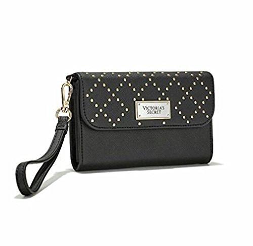 Victorias Secret Tech Wristlet Clutch Money   Phone Wallet Black Studded