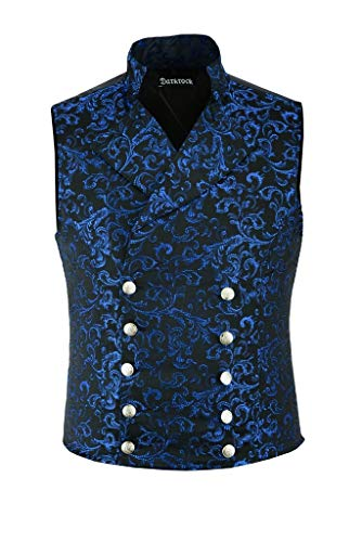 Darkrock Men's Brocade Double-Breasted Vest Waistcoat Gothic Aristocrat Steampunk Victorian (Large, Blue Brocade)