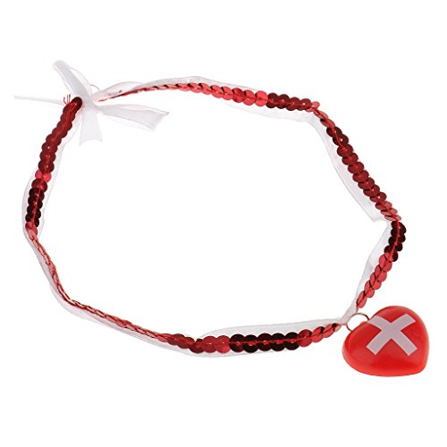 - Jili Online Novelty Nurse Choker Red Heart Pendant Necklace Ladies Womens Fancy Dress Costume Accessory Props