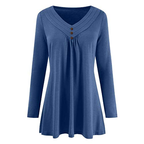 Loose Button V Neck Tops Women Autumn Solid Long Sleeve Blouse Shirts