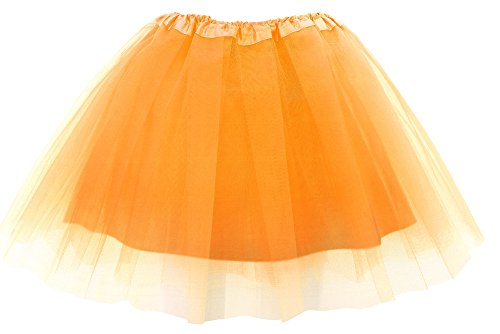 (Simplicity Womens Classic Elastic 4 Layered Tulle Tutu Skirt, Fluorescent)
