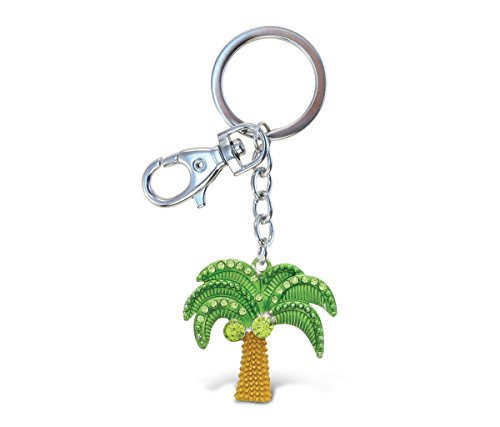 Cota Global Green and Brown Palm Tree Sparkling Charm w/Stones Elegant Keychain Pendant Measures 6.5 Inches w/Durable Key Ring & Clasp Beach Nature Fashionable Bling Accessory for Keys/Purse/Bags
