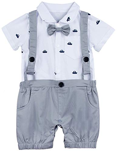 A&J DESIGN Infant Boys Bowtie Gentleman Romper Overall (3-6 Months, Light -