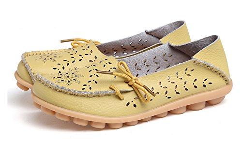 VenusCelia Damen Atmungsaktiver Walking Flat Loafer Melone / Gelblich