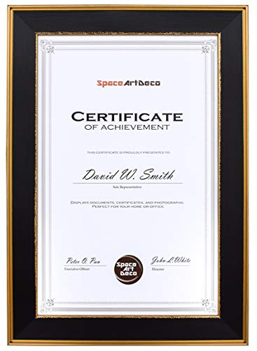 Space Art Deco 11x17 Black Document Frame with Classic Gold Designs - Certificate/Diploma/Poster Holder - Sawtooth Hangers - Wall Mount - Landscape Portrait - Glass (Black with Classic Gold)
