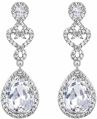 72bd5606b BriLove Women's Wedding Bridal Open Love Heart Teardrop Chandelier Dangle  Earrings Silver-Tone Clear