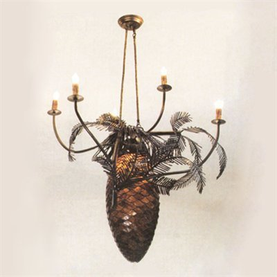 Meyda Tiffany Custom Lighting 12363 Pinecones 6-Light Chandelier, Antique Copper Finish with Bark Brown Granite Art Glass 5 Light Pinecone Chandelier