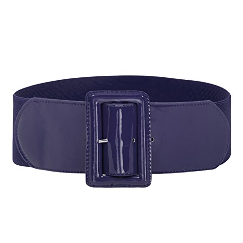 Womens Covered Buckle Stretchy Waist Patent Leather Skinny Belt Navy Blue