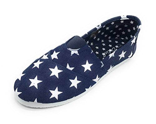 Blue Berry EASY21 Women Canvas Round Toe Slip On Flat Fashion Sneaker Denim Star 9weZld