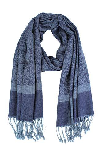 Paskmlna Paisley Jacquard Pashmina Shawl Wrap Scarf Stole (Gray-blue01891)