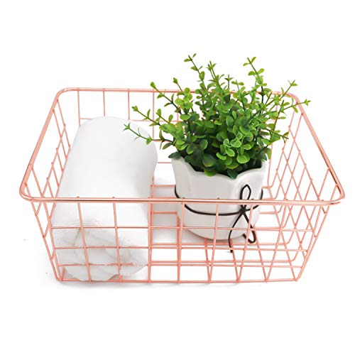 Metal Wire Storage Basket with Handles for Kitchen Food Pantry Papers Home Office Desk Basket Bathroom Laundry Room Basket Bedroom Bed Room, Rose Gold