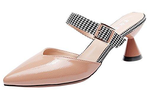 Femme Moyen Pointue Easemax Elégant Mules Abricot Talon Chaussure Xtwdqw