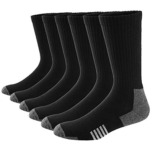 Ueither Men's Comfortable Cotton Cushioned Performance Crew Socks 6 Packs
