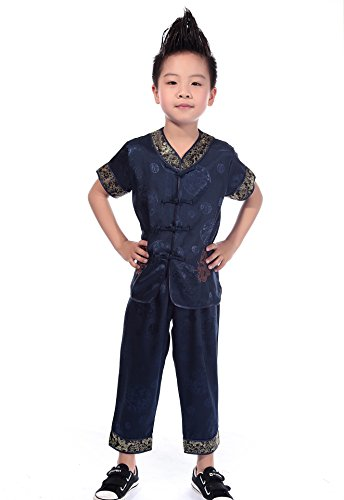 AvaCostume Chinese Dragon Embroidery Tang Suit Outfit for Boys, 4T, Navy -