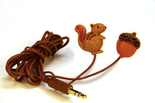 DCI Earbuds, Squirrel and Nut Headphone Earbuds - Brown by DCI