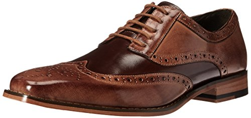 STACY ADAMS Men's Tinsley-Wingtip Oxford, Tan/Brown, 7.5 M - Dress Style Shoes Italian Brown