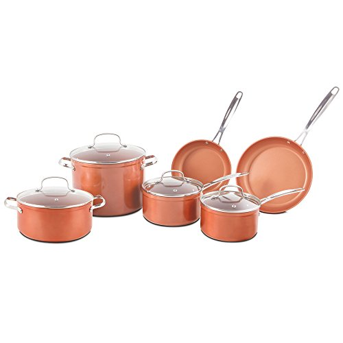 Nuwave Copper 10 Piece Ceramic Duralon Forged Cookware Set with Lids