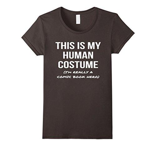 Comic Book Lady Costumes (Womens Human Costume I'm a Comic Book Hero Shirt Halloween Tee Small Asphalt)