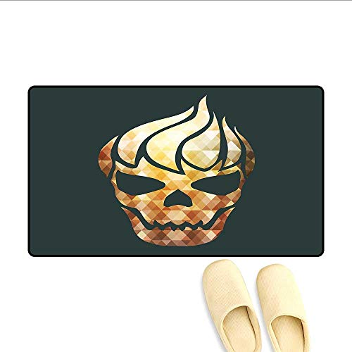 Bath Mat Gothic Skull with Fractal Effects in Fire Evil Halloween Concept Door Mat Small Rug Yellow Pale Caramel Dark Grey 32