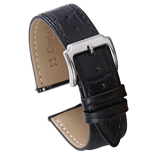Carty 22mm Leather Watch Band Quick Release - Genuine Calfskin Replacement Leather Watch Strap for Men - Black ()