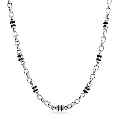 Bling Jewelry Mens Black Fancy Barrel Link Chain Necklace for Teen Silver Tone Stainless Steel Chain 19 -