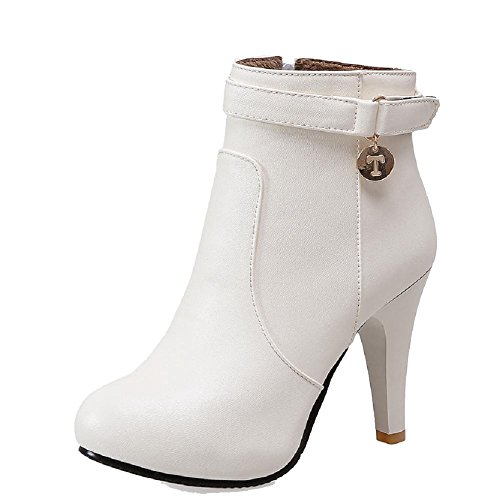 AmoonyFashion Women's Low-Top Zipper Soft Material High-Heels Round Closed Toe Boots, White, - Mall Foot Hills
