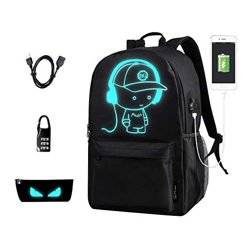 School Backpack SKL Anime Cartoon Luminous Backpack with USB Charging Port and Anti-Theft Lock & Pencil Case, School Bookbag Lightweight Laptop Backpack Casual Travel Daypack for Boys Girls Teens