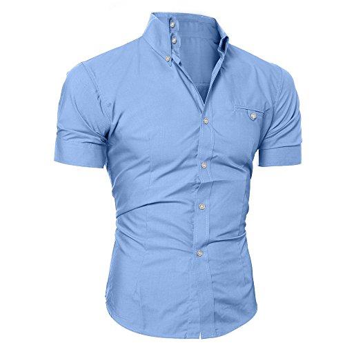 À M T Blouse Chemisette Poche Bleu 3xl Manche Décontractée Été shirt Pullover O homme Chemise Neck Courtes Manadlian Boutonné B8xnqwRECa