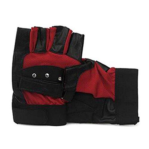 Tutuba Men's Leather Glove Warm Outdoor Sports Bike Fingerless Gloves Wholesale Mesh ()