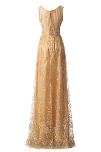 2016 Champagne applicate Sera Vogue abito a formale Sera per line Shining Sunvary da sposa q4ZdwfCq