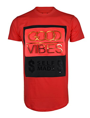 SCREENSHOTBRAND Mens Hipster Hip-Hop Premiun Tees – Stylish Longline Embossed Gold Print T-Shirts Good Vibes – Red – Large