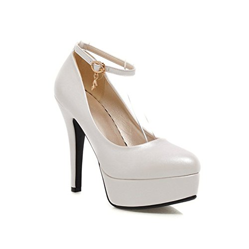 Rritoce Fashion Ankle Strap Women's Pumps Round Toe Platform High Heels Shoes White8 B(M) US - Outlet Mk Canada