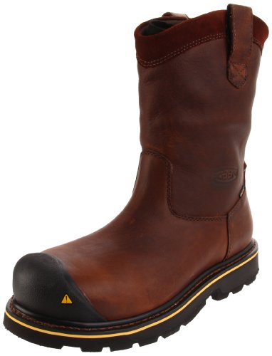 Men Wellington Boots - KEEN Utility Men's Dallas Wellington Steel Toe Work Boot,Dark Brown,9.5 D US