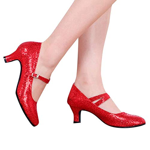 Women's Buckled Dressy Round Toe Low Cut Mid Heel Pumps Patent Leather Glitter Shoes with Ankle Strap by Lowprofile Red