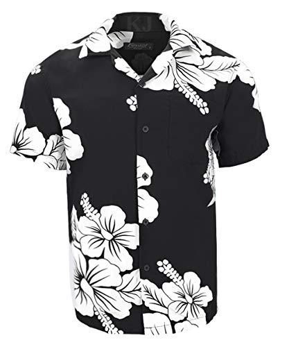 (Favant Tropical Luau Beach Hibiscus Floral Print Men's Hawaiian Aloha Shirt (Small, Black/White))