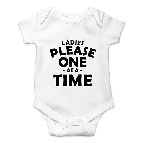 (CBTwear Ladies Please One at A Time - Funny Ladiesman Gift - Cute Infant One-Piece Baby Bodysuit (Newborn, White))