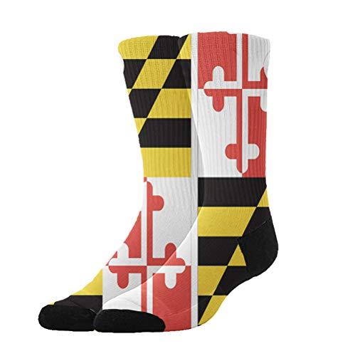 AllDECOR Youth Boys Girls Crazy Funny Maryland State Flag Crew Socks Cute Novelty Cotton Dress Socks