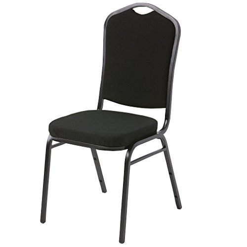 Atlas & Lane Stacking Chair - Black Fabric, Black Vinyl, Navy Fabric (Back Steel Stacking Chairs)