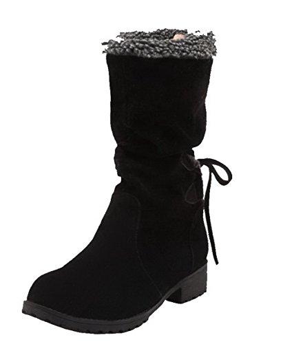 Shoes Chiusa Tacco Media Altezza Punta Puro Basso Donna Ageemi Tirare Stivali Nero dxwHWnOSf
