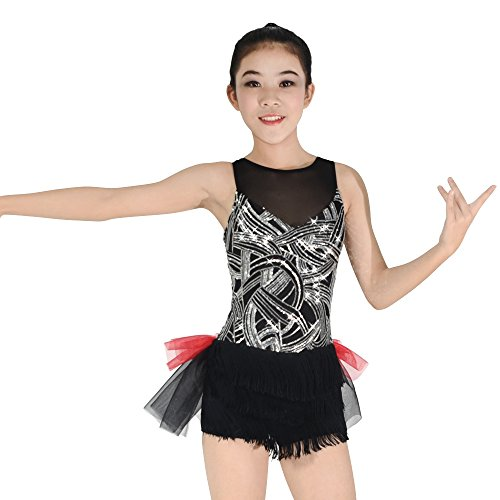 MiDee Geometric Sequins Costume Jazz Dance Dress Illusion Wide V with Half Fringes Half Tutu Skirt (MC, Black)